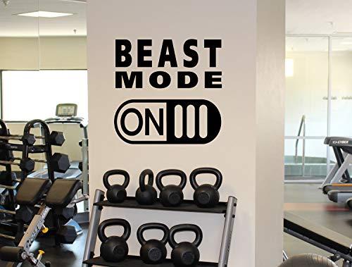 Dozili Aufkleber Beast Mode on, Vinyl, für Fitnessstudio, Workout, Fitness, Wand, Sport, Zuhause, Fitnessstudio, Wand-Grafik, 55,9 x 63,5 cm
