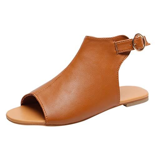Lilicat Estive Donna Moda Sandali Comfort Toe Scarpe Camminare Bassi Eleganti Estate Spiaggia Bambina con Infradito Danza Shoes Tacco Basso Peep Casuale retrò Romani Sandals (Marrone,40 EU)