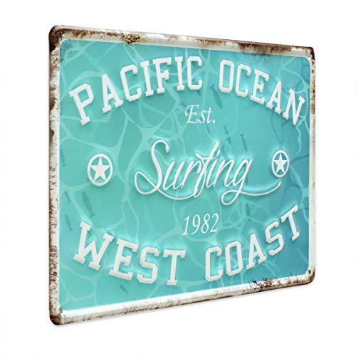 PHOTOLINI Blechschild Surfing 20x30 cm Metallschild Spruch Nostalgieschild Maritim Dekoschild
