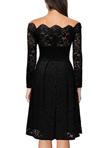Miusol Damen Vintage 1950er Off Schulter Cocktailkleid Retro Spitzen Schwingen Pinup Rockabilly Kleid Schwarz Gr.XS -