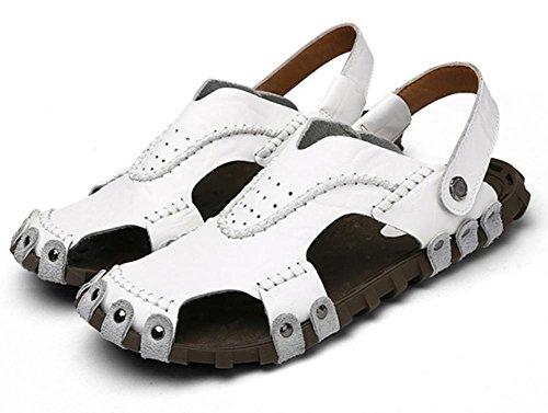 2017 estate nuova personalità uomini di modo sandali fatti a mano della spiaggia Scarpe in pelle inferiore molle sandali di cuoio traspirante Baotou Men White