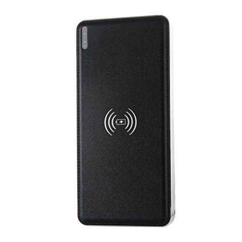 Drive Transfer-bank (Xshuai Tragbare externe USB-Energie-Bank 10000mAh u. Drahtloses Ladegerät 2 in 1 für Iphone X für Samsung und mehr neu (Schwarzes, weiß) (Schwarz))