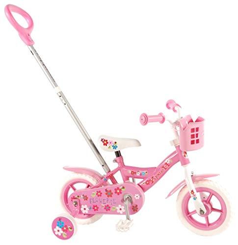 Bici Bicicletta Bambina 10 Pollici Scatto Fisso Flowery con Maniglia di Spinta e Cestino Rosa 85% Assemblata