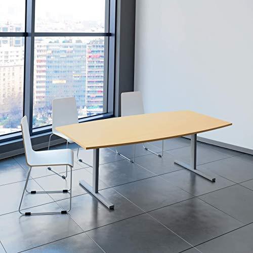 EASY Konferenztisch Bootsform 200x100 cm Buche Besprechungstisch Tisch, Gestellfarbe:Silber
