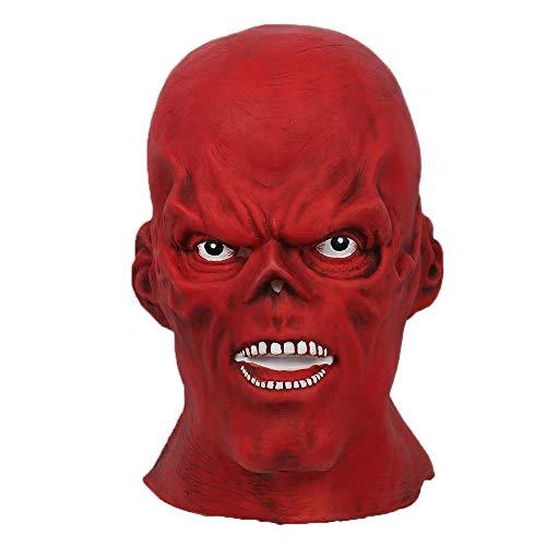 Cosplay Kostüm Red Skull - Xcoser Rot Maske Letax Voller Kopf Helm Skull Cosplay Kostüm Zubehör für Halloween Kleidung Verrücktes Kleid Zubehör