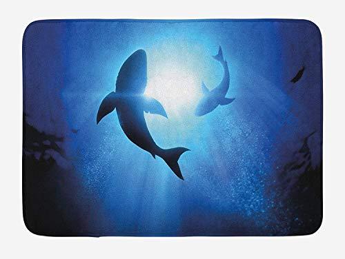AoLismini Hai-Badematten, Unterwasserwelt mit Silhouetten von Fischen,