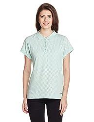Park Avenue Woman Polka Dot T-Shirt (PWKB00262-B3_Medium Blue_81)