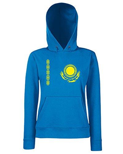 T-Shirtshock - Sweats a capuche Femme TM0204 Kazakhstan flag Bleu Royal