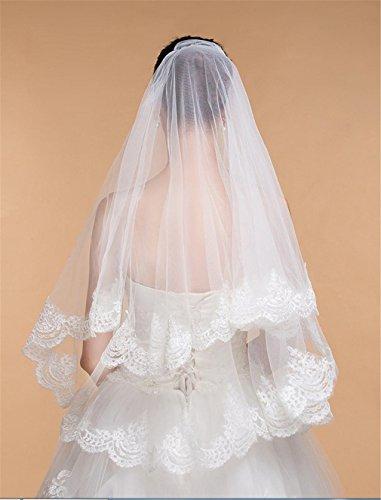 Eine Schleier Tier-soft-tüll Hochzeit (LUCKY-U Hochzeitsschleier 2 Tiers Spitze Applique Rand Ellbogenlänge Braut Hochzeit Schleier Braut Dekoriert mit Spitzenkristall)