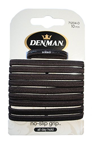 Denman no-slip grip elastico hairbands, marrone, pezzi