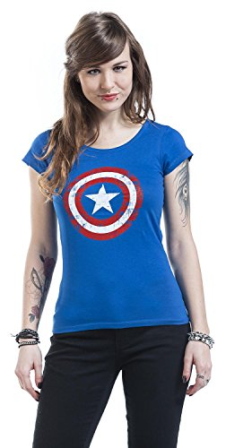 Captain America Cracked Shield T-shirt Femme bleu Bleu