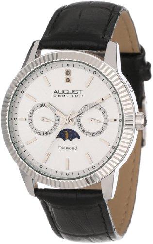 August Steiner Men's AS8051SS Swiss Quartz Multi-Function Diamond Strap Watch
