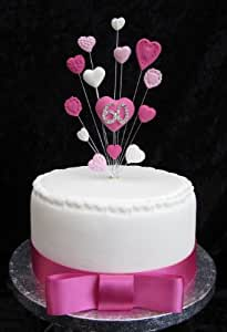 Karen's Cake Toppers Décoration de gâteau d'anniversaire 60ans Pour petit gâteau ou cupcake Cœurs Rose/blanc