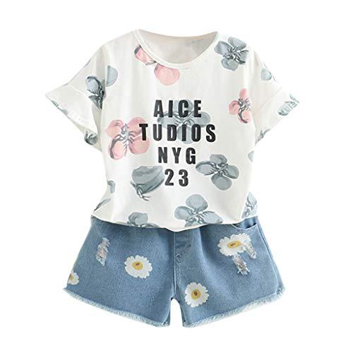 Kostüm Girl Bierkrug - TTLOVE MäDchen Kleinkind Outfit Kinder Baby T-Shirt Mit Blumenmuster + Denim Shorts Set,Kid Girl Sommer Kleidung (Weiß,90)