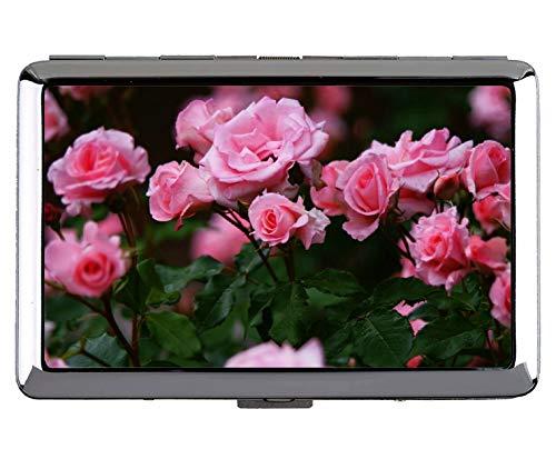 Silber Edelstahl zigarettenetui, Natur Rose Rose Bush Blume Edelstahl - Rose Bush Kostüm