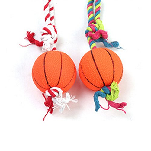 Newin Star Hund Spielzeug, Basketball Spielzeug mit Baumwolle Seil Spielzeug Handgemachtes Langlebiges Anti-Riss Kauen Molaren Spielzeug für Hund und Welpen, Zufällig Geschickt -