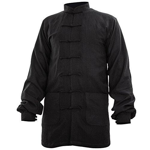 wu designs Baumwolle (Leicht) Kung Fu & Tai Chi Shirt Stehkragen Manschetten - Taiji Anzug Schwarz 175