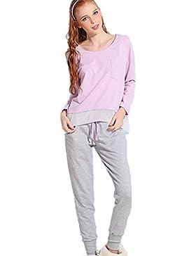 DMMSS Autunno donna e inverno Home vestiti insieme pigiama di svago puro cotone Accappatoio , picture color , m
