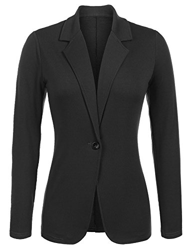 Parabler Damen Blazer Tailliert Elegant Business Jacke Anzugjacke Jersey Jäckchen Schwarz XL