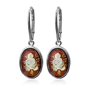 - Ambre-Argent 925/1000–Camée Fleur Rose Boucles d'oreilles dormeuses Forme ovale