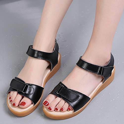 Uhrtimee Sandalen Damen Sommer 2019 New Wild Flat Bottom Klett Student Flat Rom mit einfachen flachen weiblichen Sandalen, 37, schwarz - Schwarze Folien Clogs