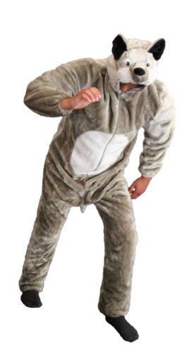 Foxxeo Premium Plüsch Wolf Kostüm für Erwachsene Damen und Herren Tierkostüm Overall Jumpsuit Größe L