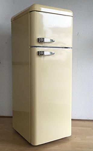 FIVE5Cents G215 / SL 208 / Kühlgefrierkombination/Creme glänzend/Retro/Kühlschrank/KÜHL-GEFRIERKOMBINATION/Rippenlos