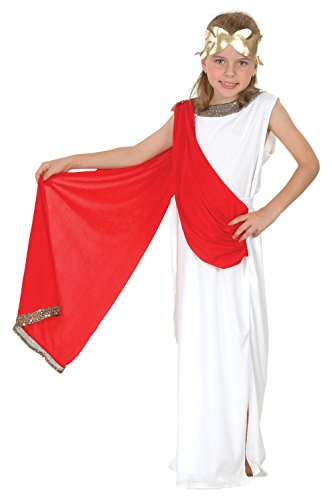 Fancy Me Mädchen oder Jungen Weiß Rot Römische Toga Schule Kostüm Kleid Outfit 4-14 Jahre - Mädchen, 10-12 Years
