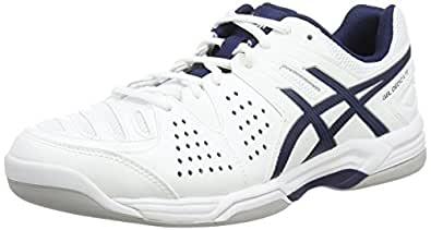 asics gel dedicate 4 indoor herren tennisschuhe wei white navy silver 0150 39 eu amazon. Black Bedroom Furniture Sets. Home Design Ideas