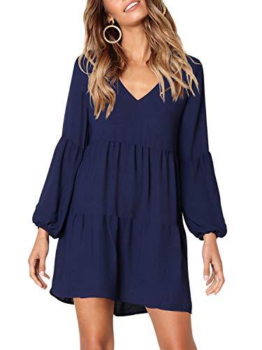 Beluring Gerafft Shift Kleid Damen Lose Lässiges T-Shirt Kleid Langarm Grosse Grössen Königsblau XL (Shift-kleid Frauen Für)