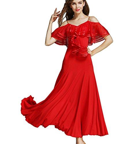 Lotus Leaf Costume Ballroom dress Modern dance skirt National dress Waltz dress red M