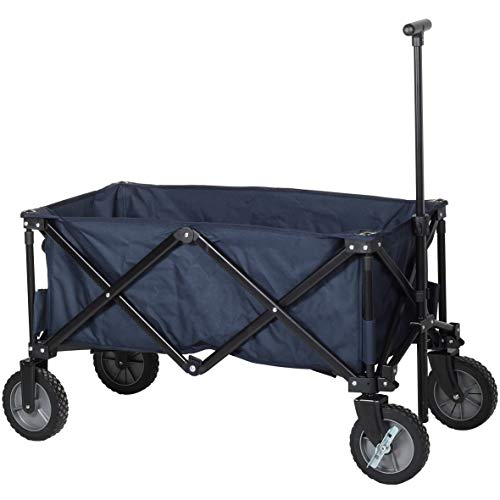 Carrello da giardino pieghevole campart travel hc-0910 - capacità 70 kg - blu
