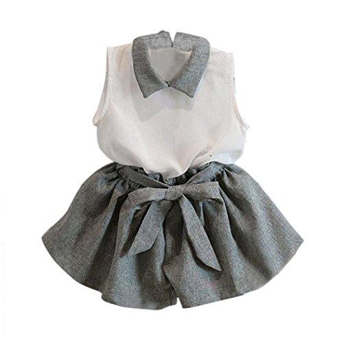 Squarax Kleidungs-Set für Mädchen, ärmelloses T-Shirt- und Shorts-Set, Anzug. 1-2Years grau