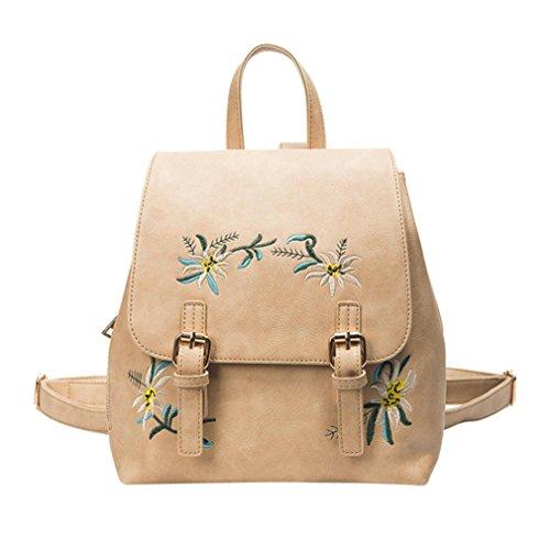 Longra Lo zaino del sacchetto di spalla ricamato fiore di modo delle donne Cachi