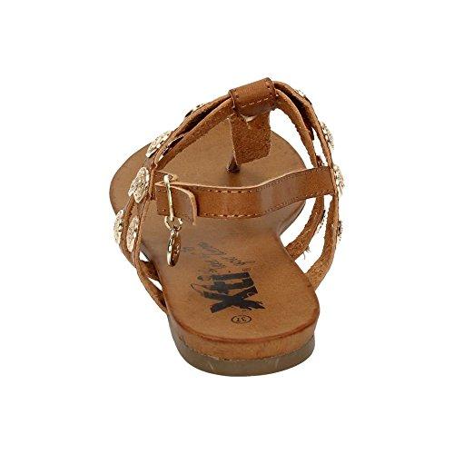 XTI , sandales femme Camel