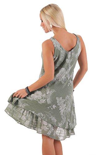 ZARMEXX robe d'été longueur genou couche double Coton Robe De Plage col en V floral entièrement imprimé armee