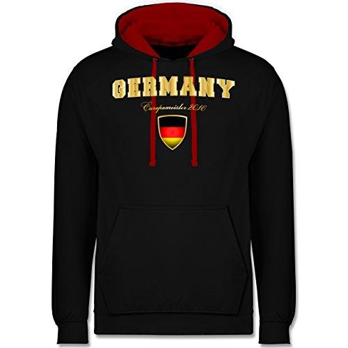 Fußball-WM 2018 - Russland - Germany Europameister 2016 - Kontrast Hoodie Schwarz/Rot