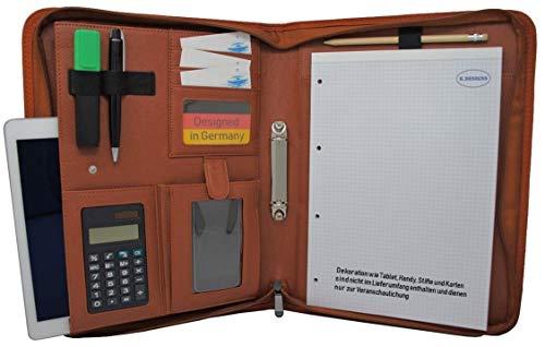 Schreibmappe K.DESIGNS A4 braun - Die Mappe ist aus hochwertigem imitiertem Leder - Ihr idealer Organizer mit Reissverschluss und Ringbuch zum Aufbewahren von Dokumenten - Perfekt als Konferenzmappe