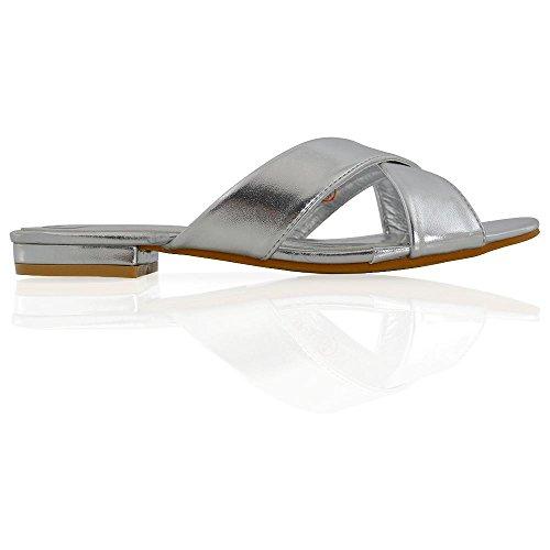 ESSEX GLAM Donna Attraversare Scivolare su Sintetico Slider Scarpa Sandalo Argento metallizzato