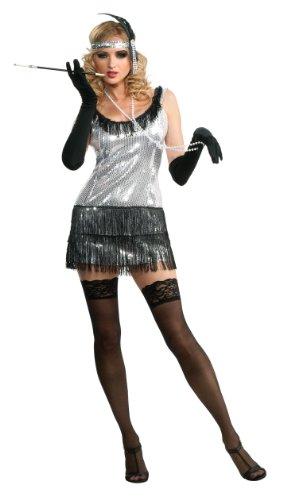 silbernes sexy Charleston Kleid Kostüm für Damen Gr. S-XL, Größe:XL