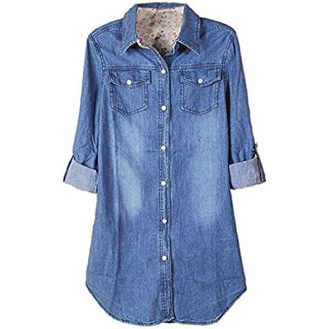 Culater® Camisa De Mezclilla De Las Mujeres Ocasionales De La Manga Larga De La Vendimia Azul Encabeza Blusa