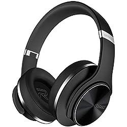 DOQAUS Casque Bluetooth sans Fil, [Jusqu 52 Heures] Pliable Casque Stéréo sans Fil Hi-FI, 3 Modes EQ, Protège-Oreilles Mous de Protéines, Microphone intégré & Mode Filaire, pour PC/Phone/TV/Tablette