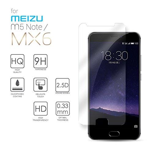Meizu MX6 Hartglas Schutzfolie Bildschirmschutz, Gehärtetem Glass Folie für Meizu MX6 / M5 Note, 5.5 Zoll - 9H Glashärte, Kratzfeste & Ölabweisende Beschichtung, HD Transparenz & Feingefühl