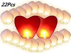 Idea Regalo - 22PZ Lanterne Cinesi Volanti, JRing 20 PZ Lanterne Bianchi e 2 PZ Lanterne Cuori Rossi Giganti Per la Festa Nuziale