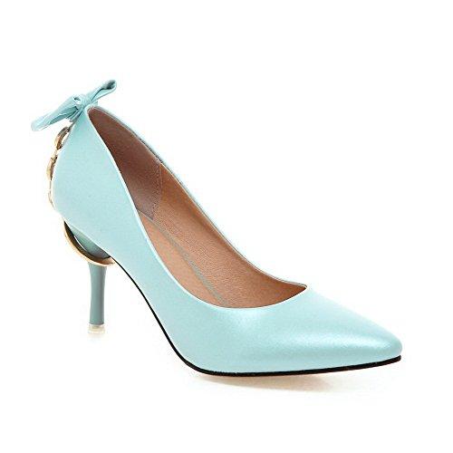 AllhqFashion Damen Pu Rein Spitz Schließen Zehe Stiletto Pumps Schuhe, Himmelblau, 40