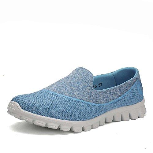 Laufschuhe Damen Outdoor Sport Luftpolster Turnschuhe Rutschfest Freizeit Sneakers Schn眉rer Stra脽en Wander Schuhe Blau