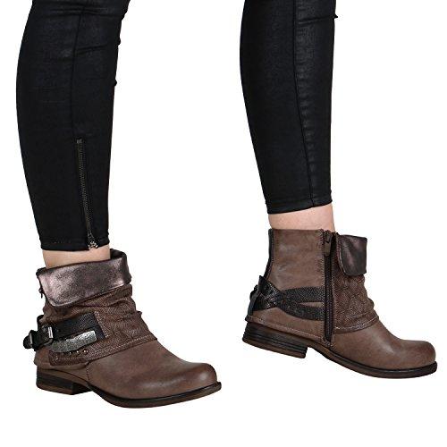 Damen Stiefeletten | Biker Boots Schnallen Nieten | Knöchelhohe Stiefel Leder-Optik Khaki
