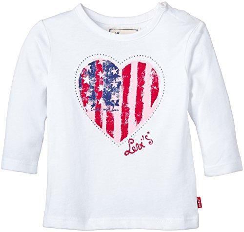 Levi's Kids Baby - Mädchen Langarmshirt Levi's Tee - Shirt, Gr. 74 (Herstellergröße: 12M), Weiß (WHITE 01) (Tab-front Shirt)