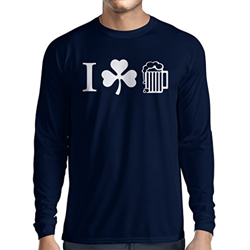 T-Shirt mit langen Ärmeln The Symbols of St. Patrick\'s Day - Irish Icons (Large Blau Mehrfarben)