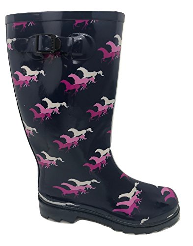 New Womens Wellington Boots With Horse Design